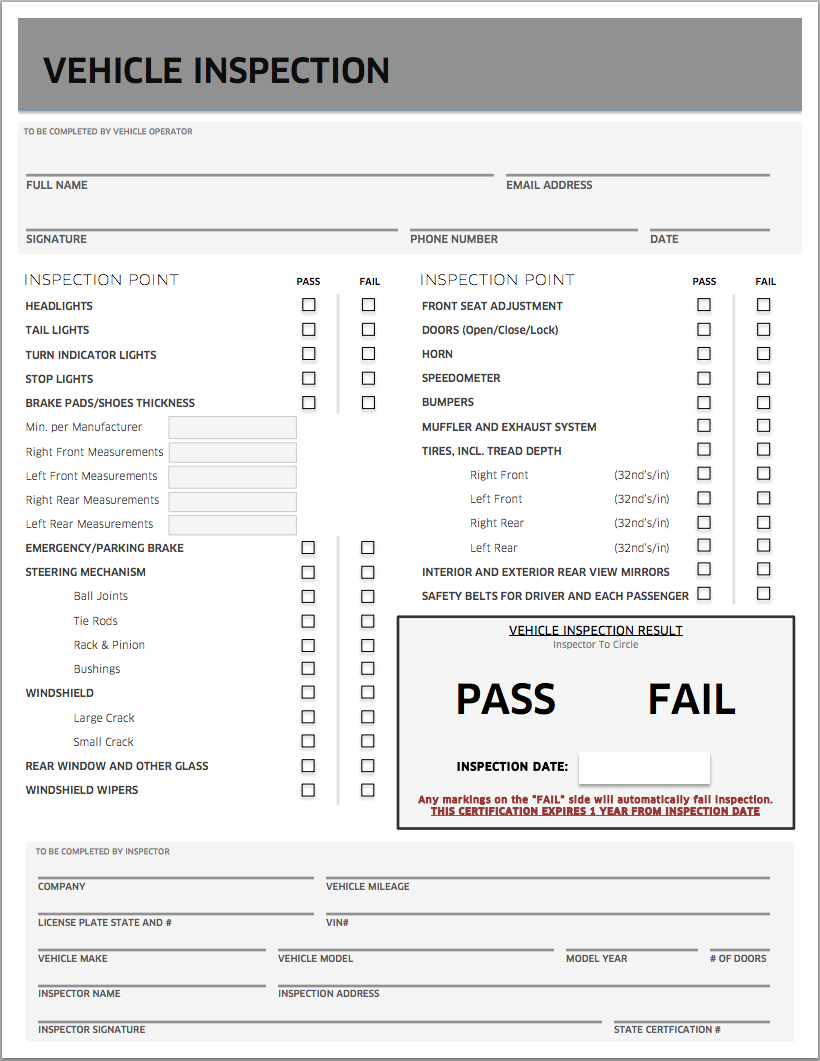 Uber Inspection Form Pdf Download