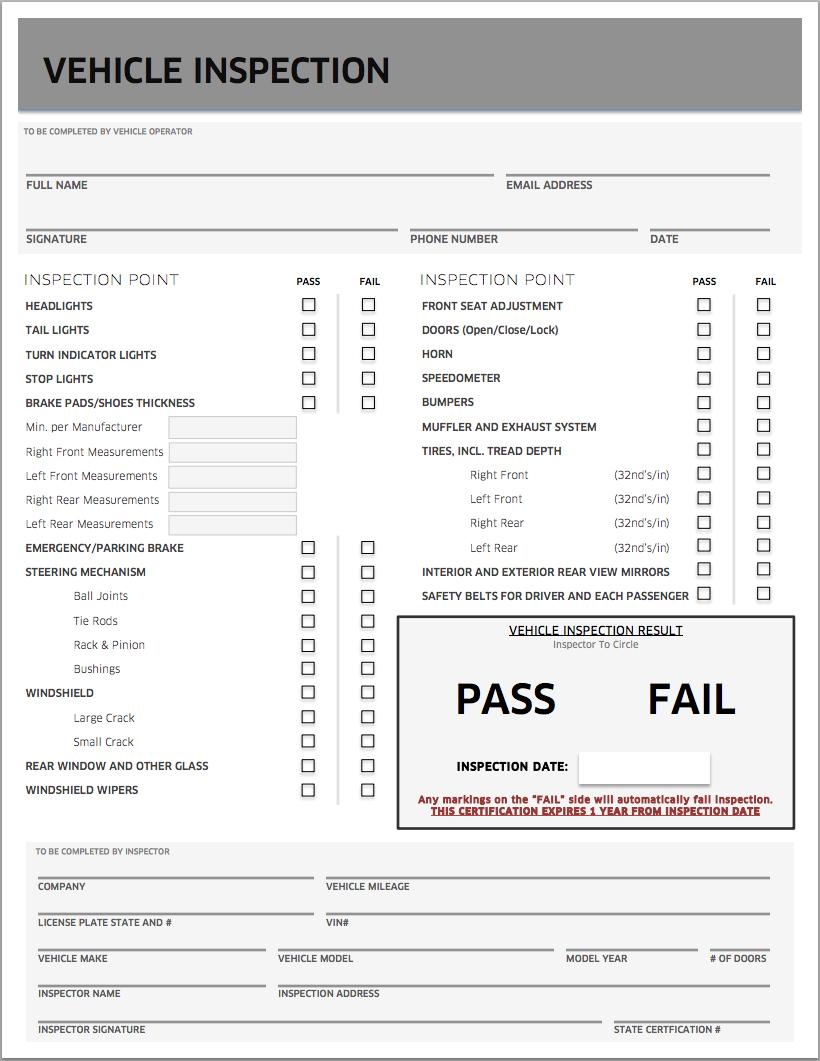 Uber Inspection Form Pdf Download
