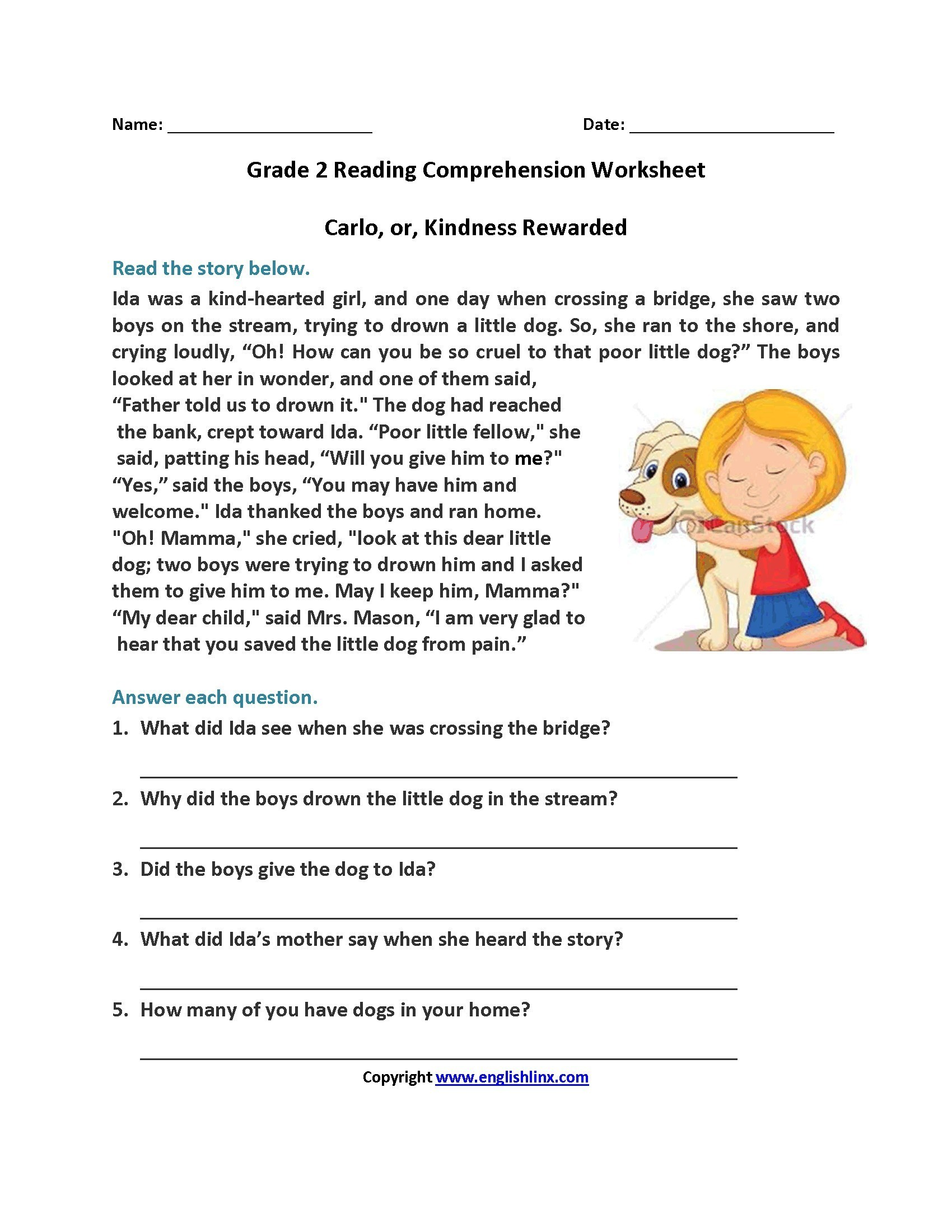 5th Grade Reading Comprehension Worksheets Pdf
