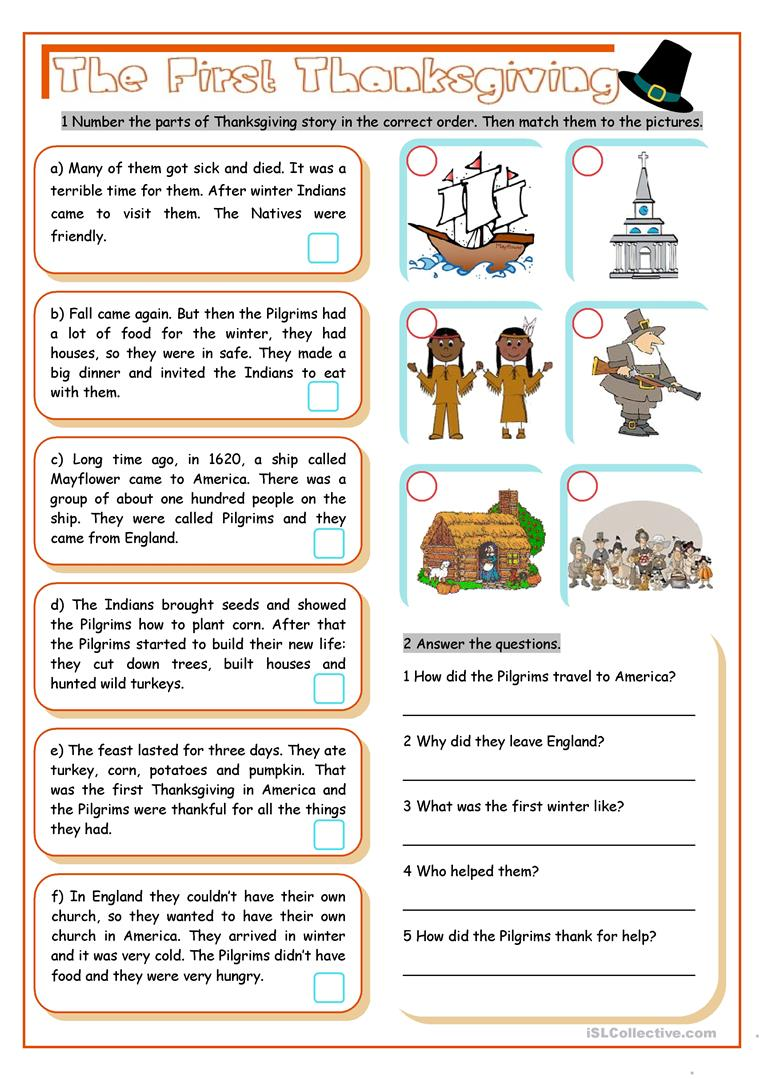 5th Grade Thanksgiving Reading Comprehension Worksheets Pdf
