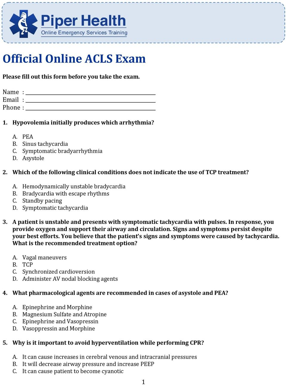 Acls Questions And Answers Pdf 2020