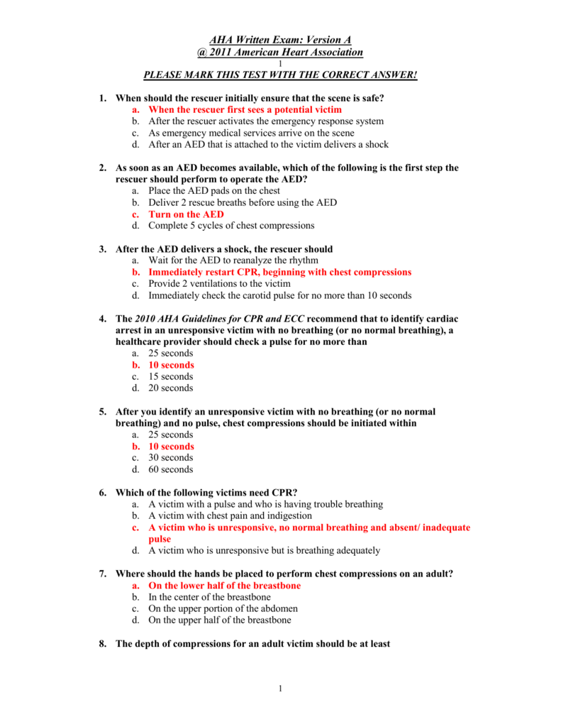 Aha Acls Questions And Answers Pdf