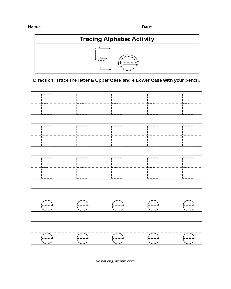 Alphabet Tracing Worksheets Pdf Letter E