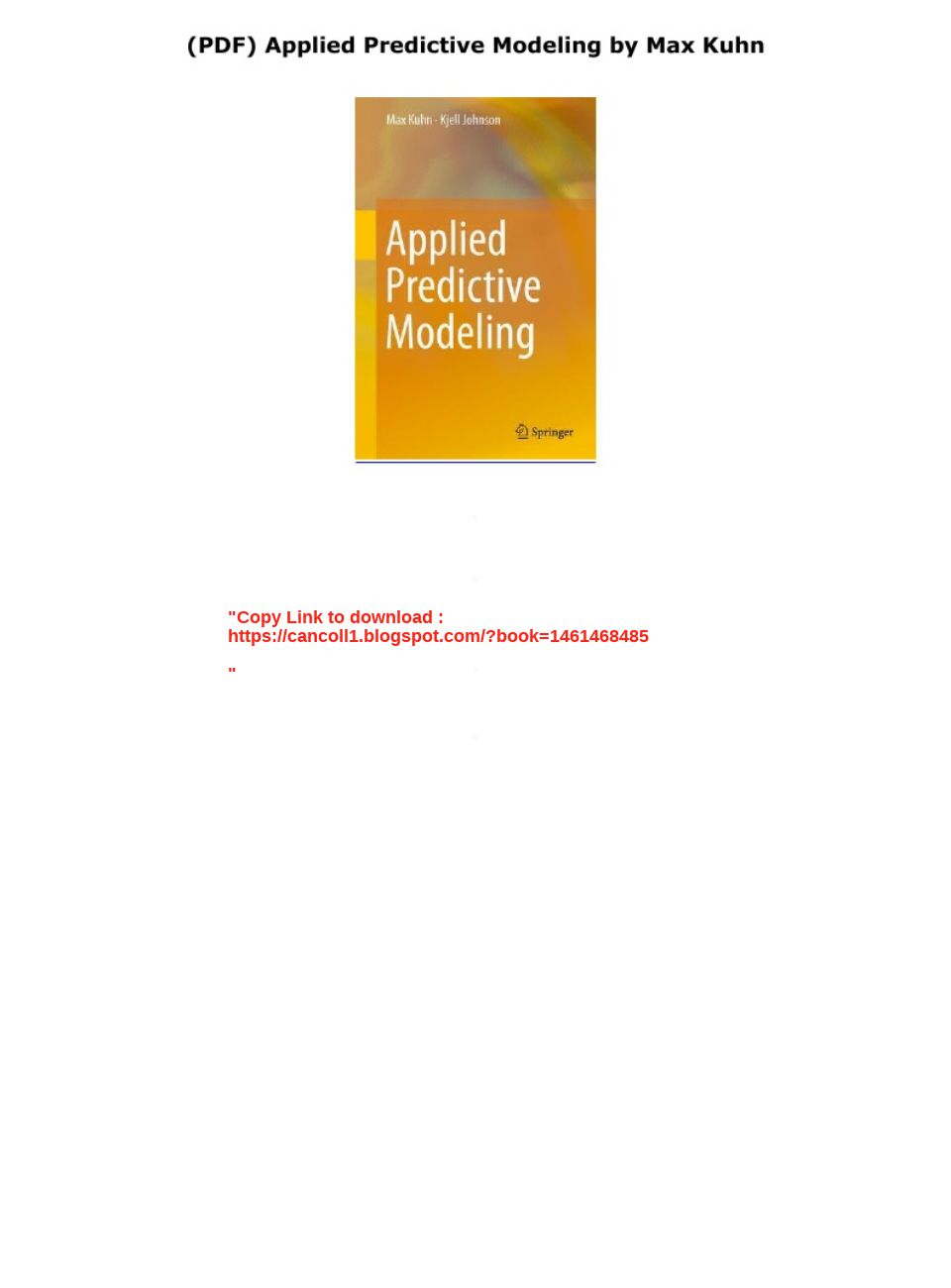 Applied Predictive Modeling Pdf