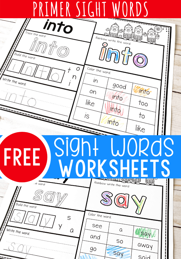 Beginner Kindergarten Sight Words Worksheets Pdf