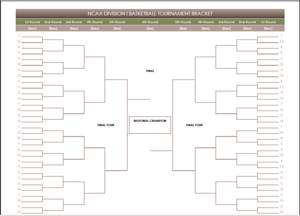 Blank March Madness Bracket Pdf