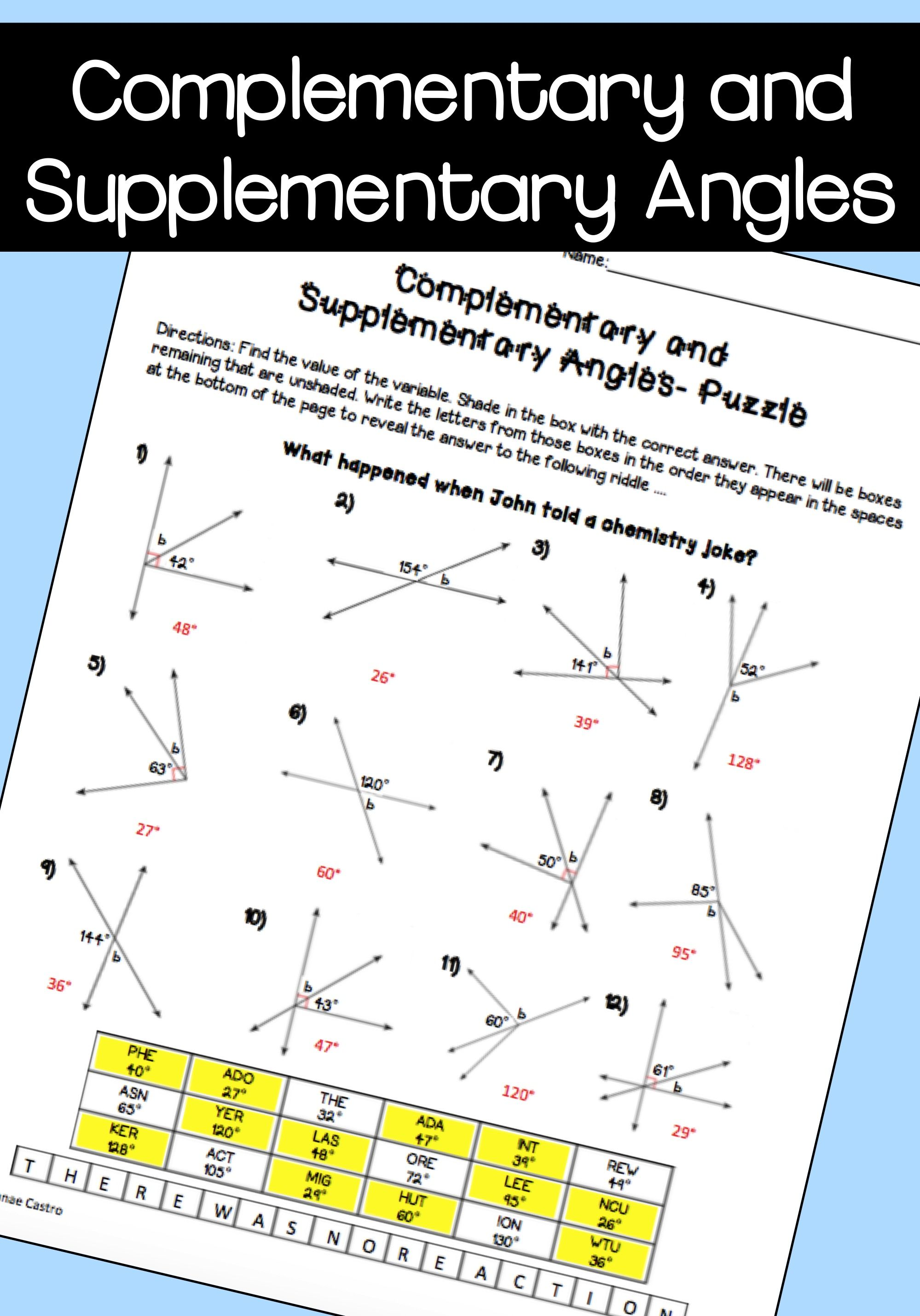 Complementary And Supplementary Angles Worksheet 7th Grade Pdf