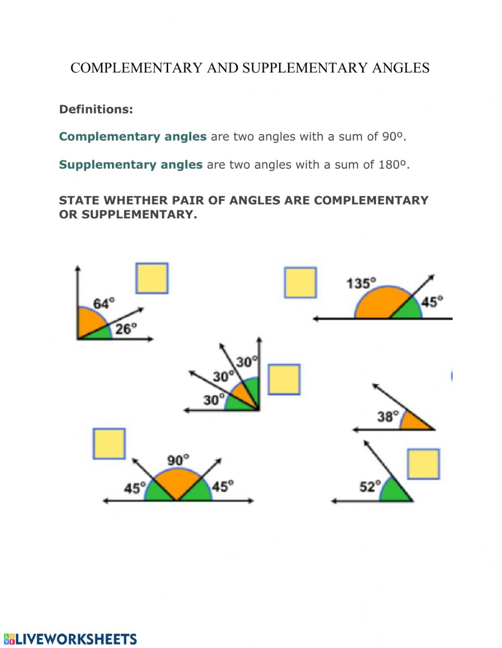 Complementary And Supplementary Angles Worksheet Pdf With Answers