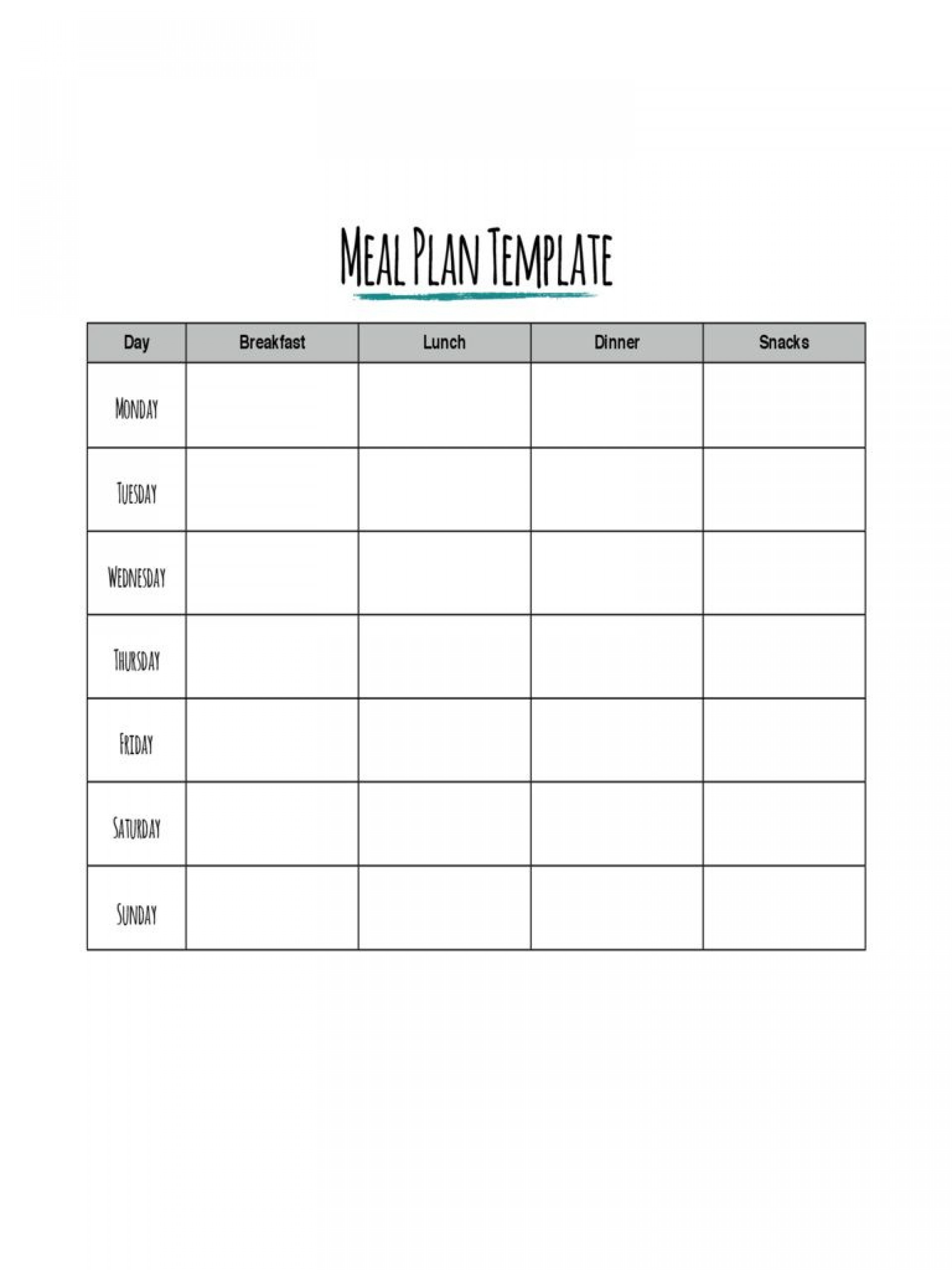 Daily Meal Plan Template Pdf