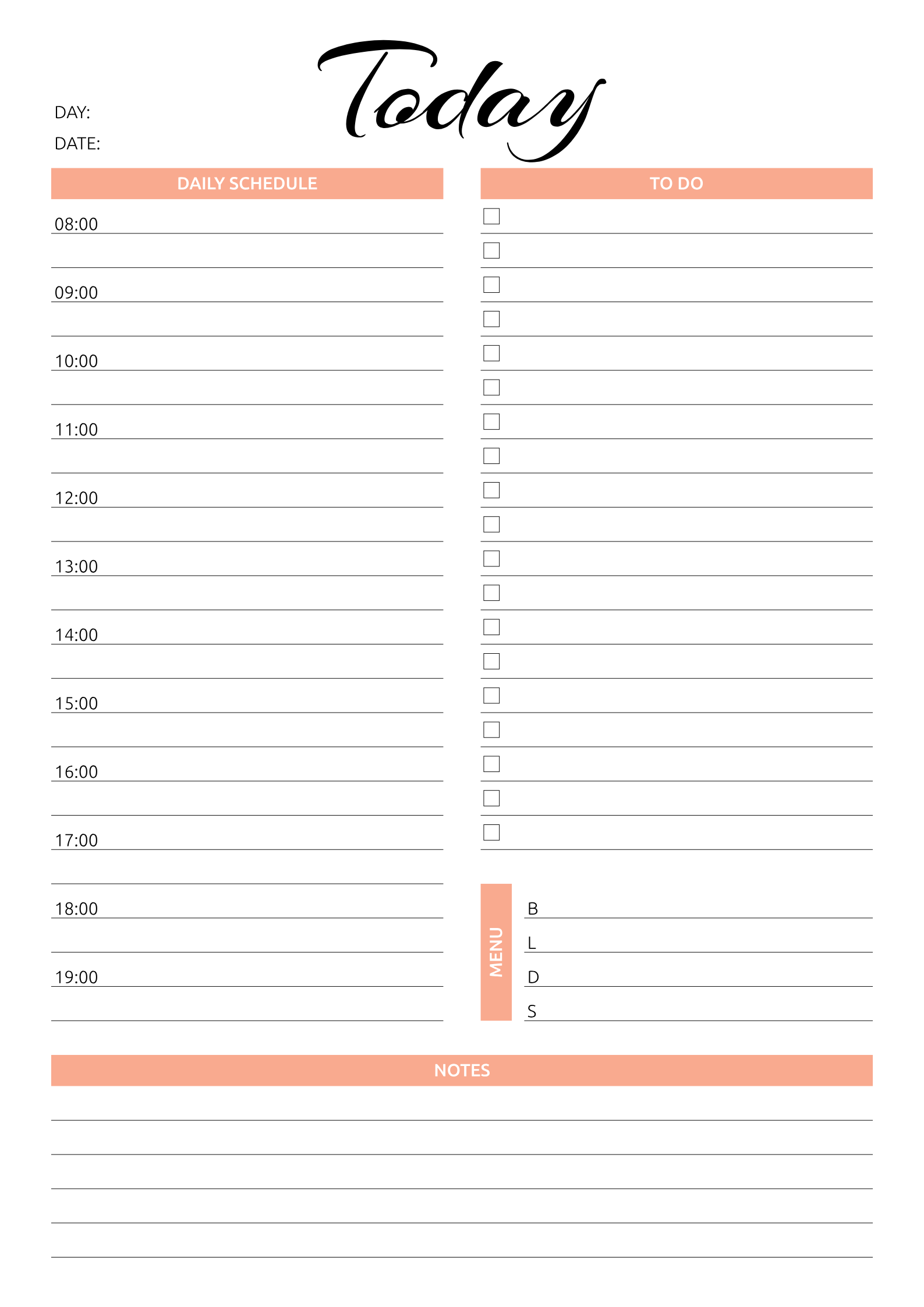 Daily Planner Pdf Template