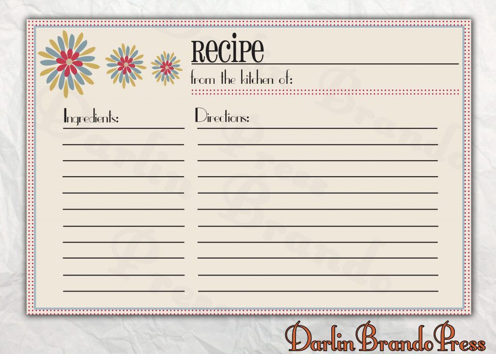Downloadable Editable Recipe Template Pdf