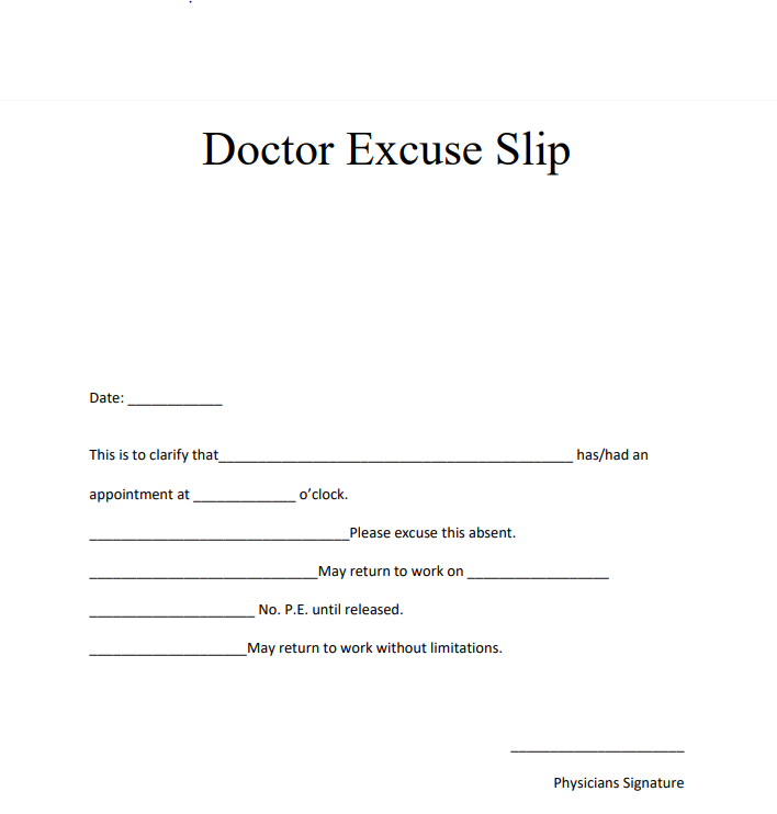 Fake Doctors Note With Signature Pdf