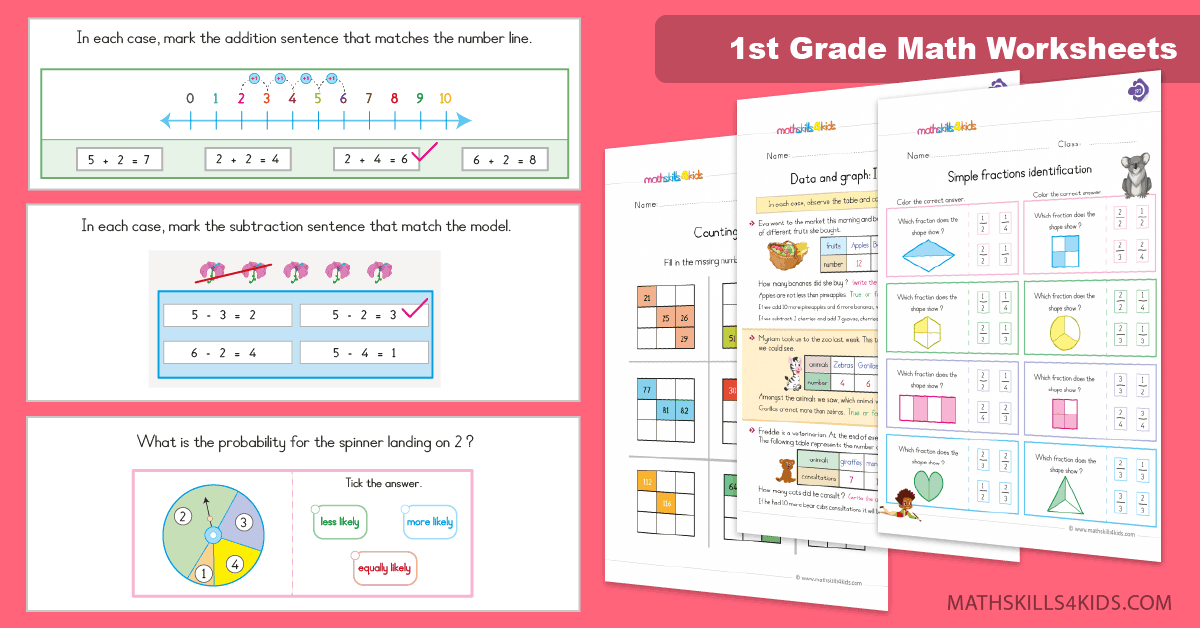 First Grade Printable 1st Grade Math Worksheets Pdf