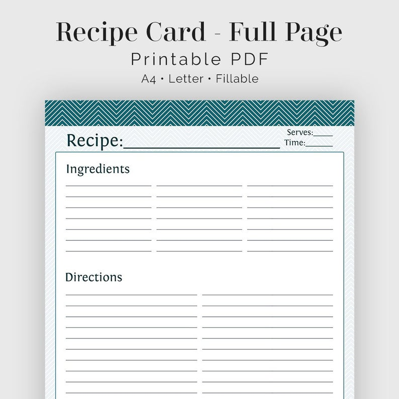 Full Page Recipe Template Pdf