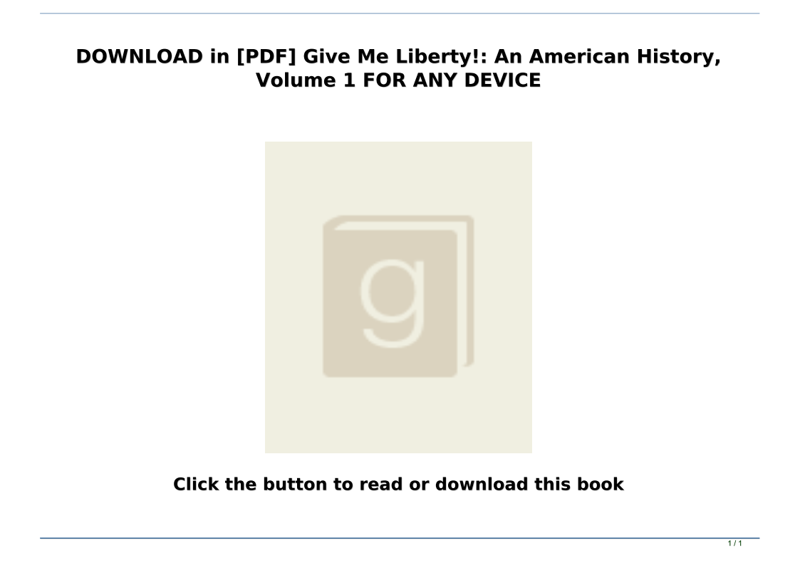 Give Me Liberty Pdf Download