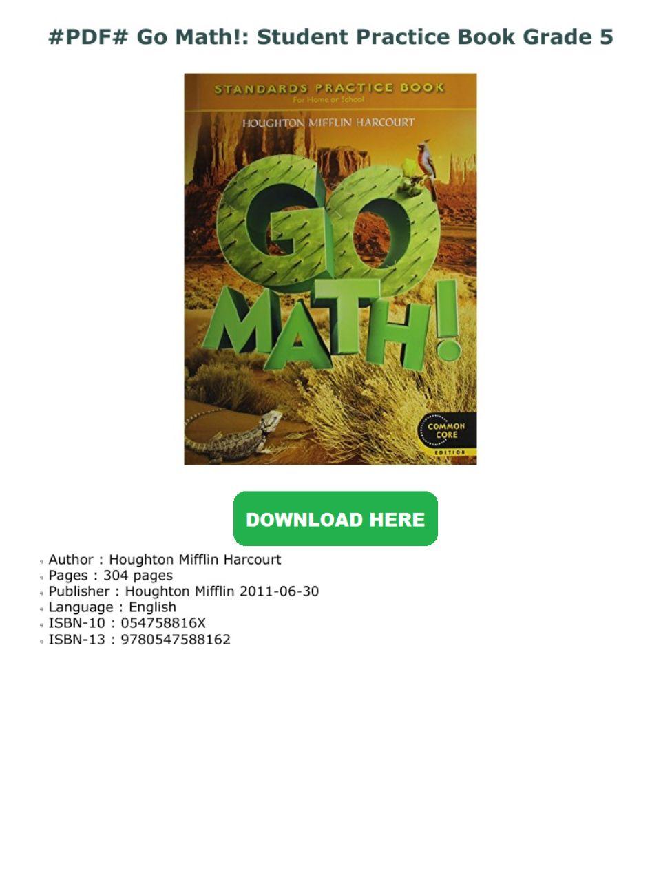 Go Math Grade 5 Practice Book Pdf