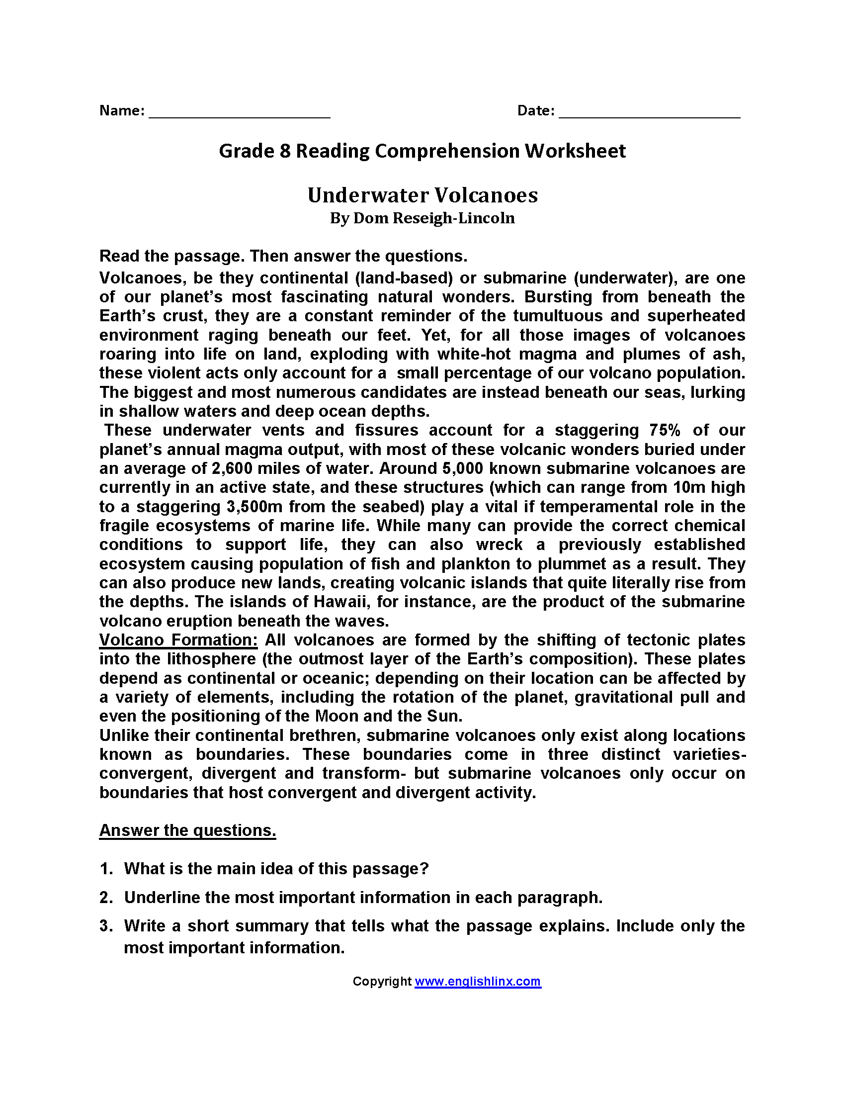 Grade 7 Reading Comprehension Worksheets Pdf Cbse