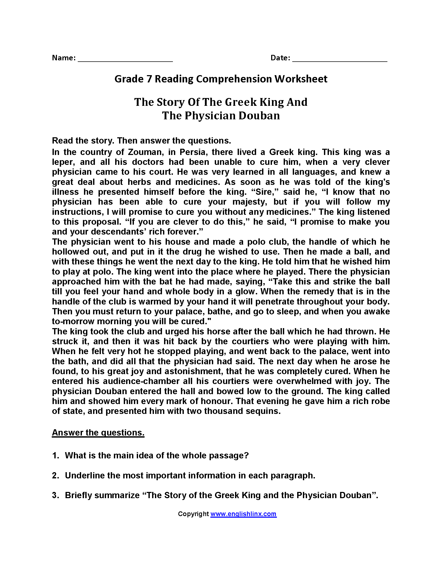 Grade 7 Reading Comprehension Worksheets Pdf With Answers