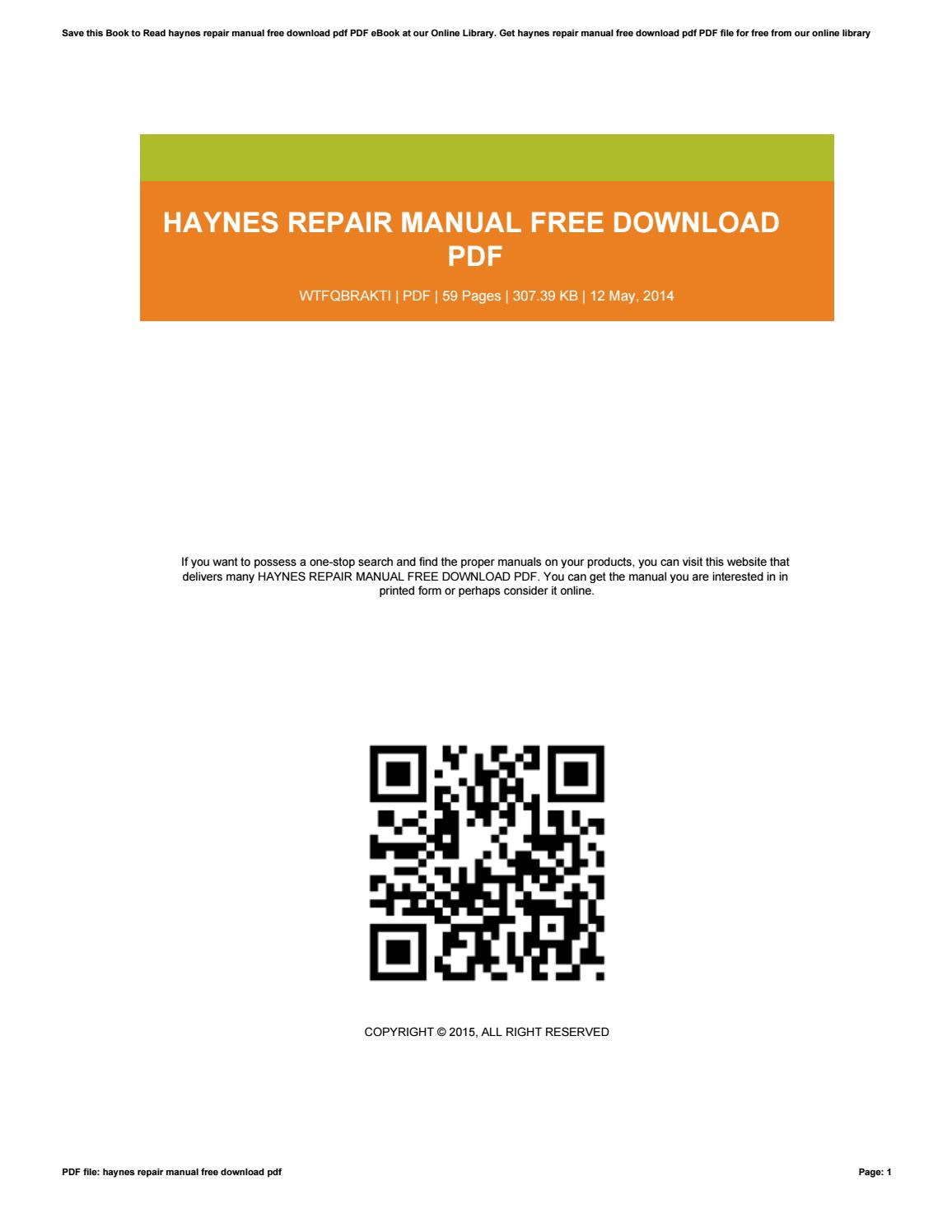 Haynes Repair Manual Pdf Free