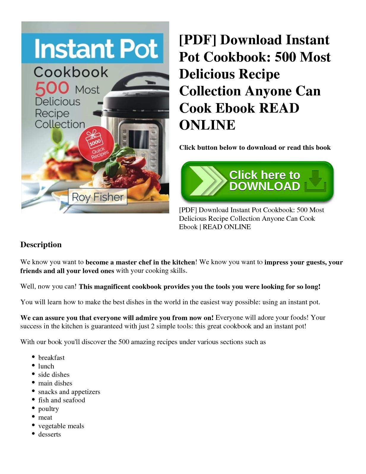 Instant Pot Cookbook Pdf