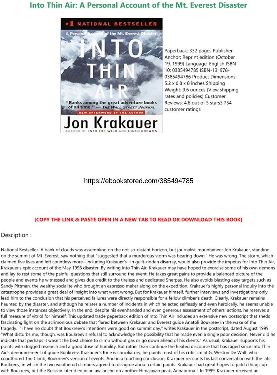 Into Thin Air Pdf Online