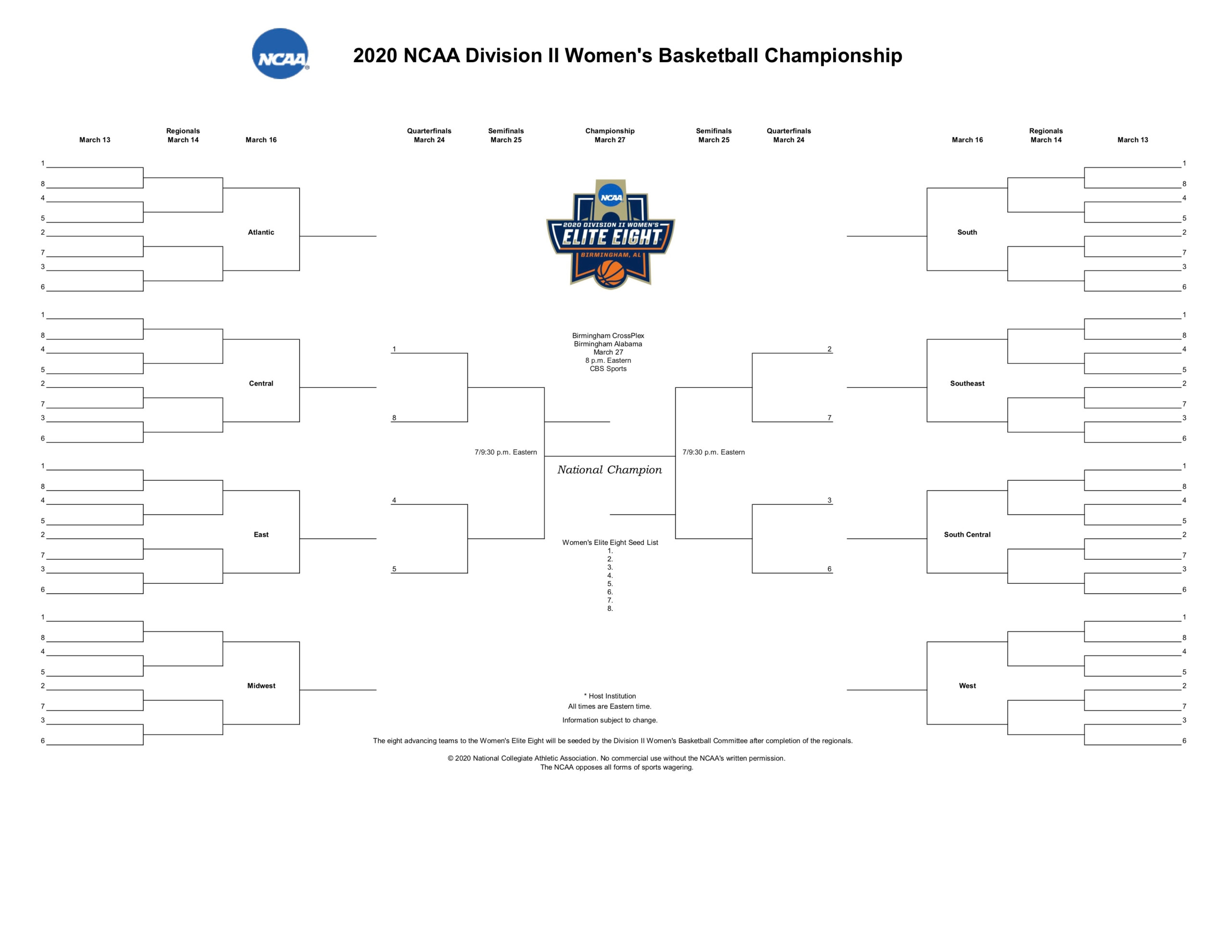 2020 Ncaa Dii Bracket: Printable Dii Women's Basketball Within Ncaa Bracket 2020 Printable March Madness Bracket .pdf