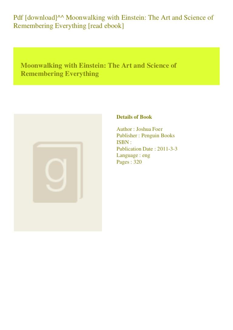 Moonwalking With Einstein Pdf Download