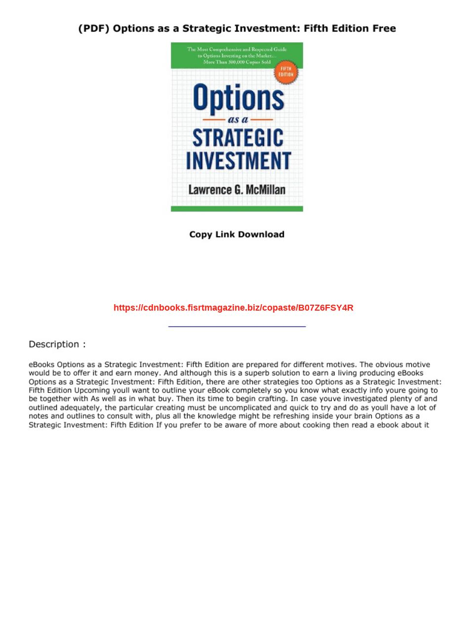 Options As A Strategic Investment Pdf Free