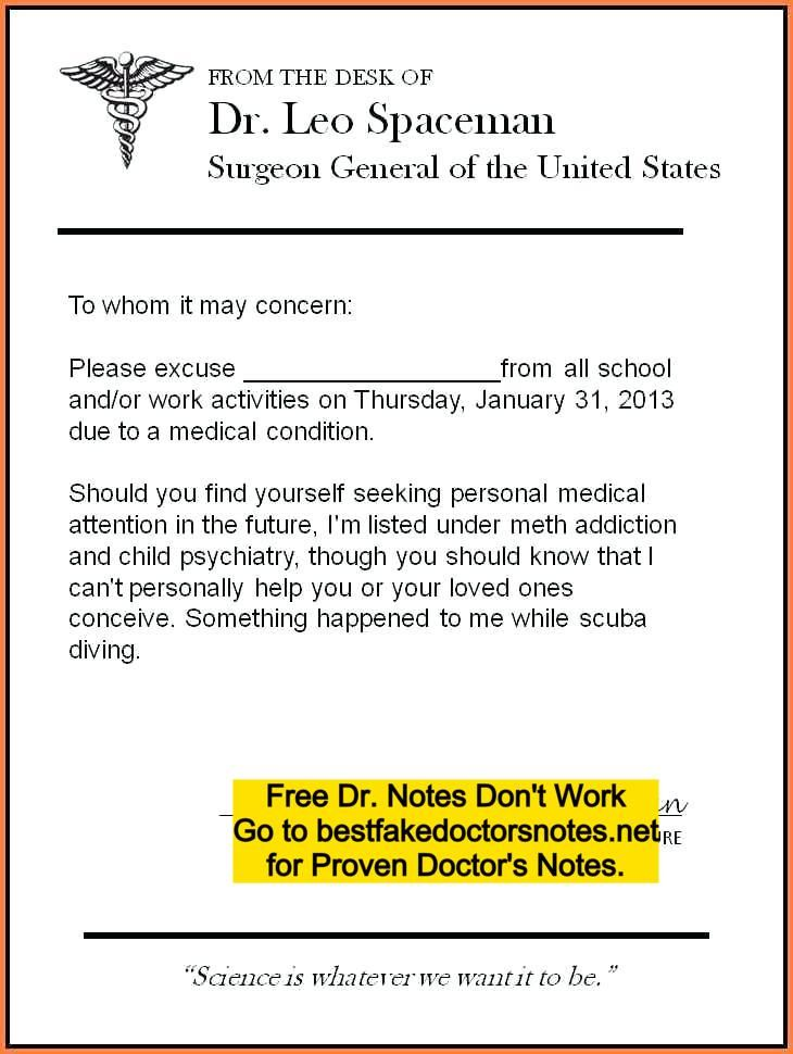 Pdf Fake Doctors Note For Work