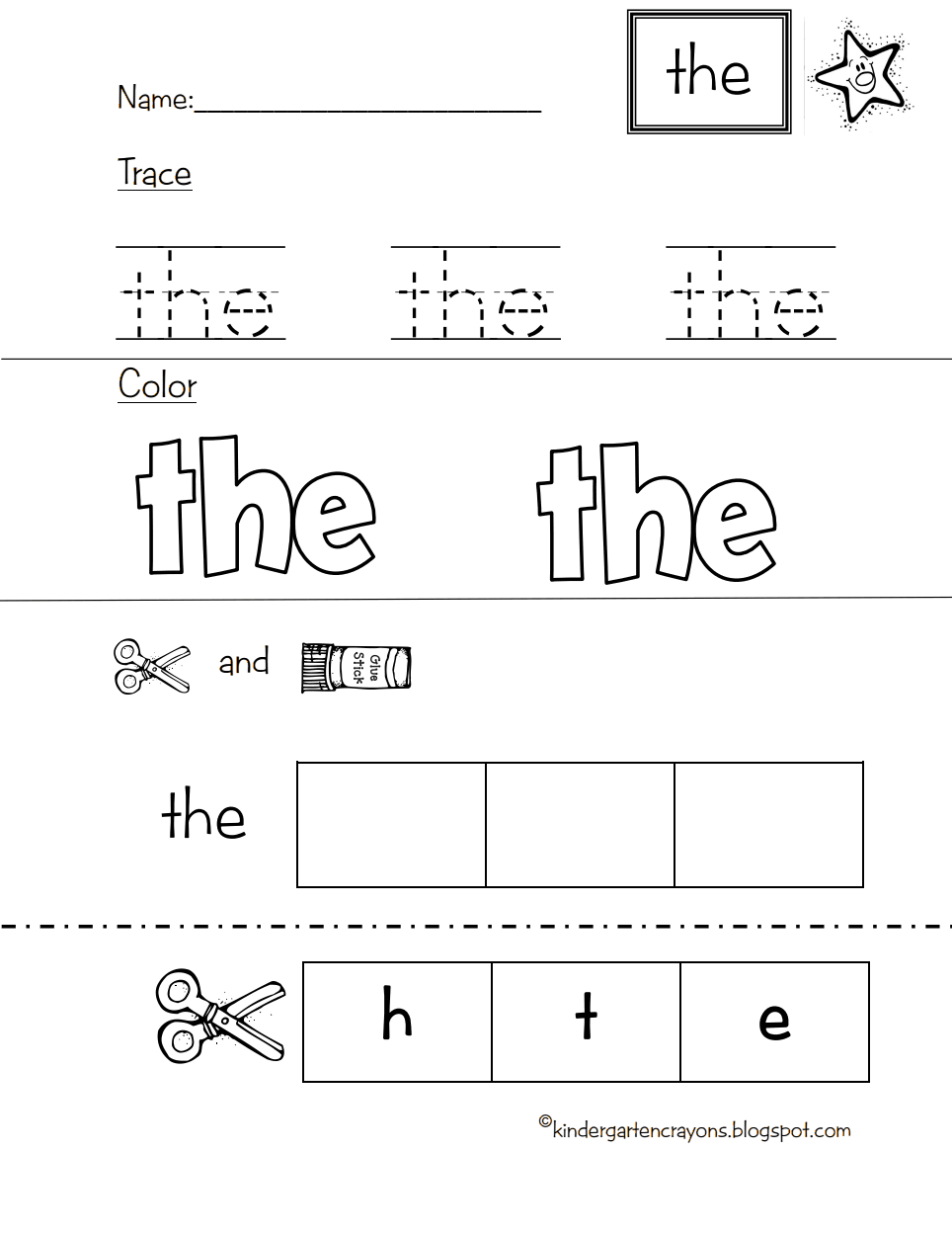 Pre K Kindergarten Sight Words Worksheets Pdf