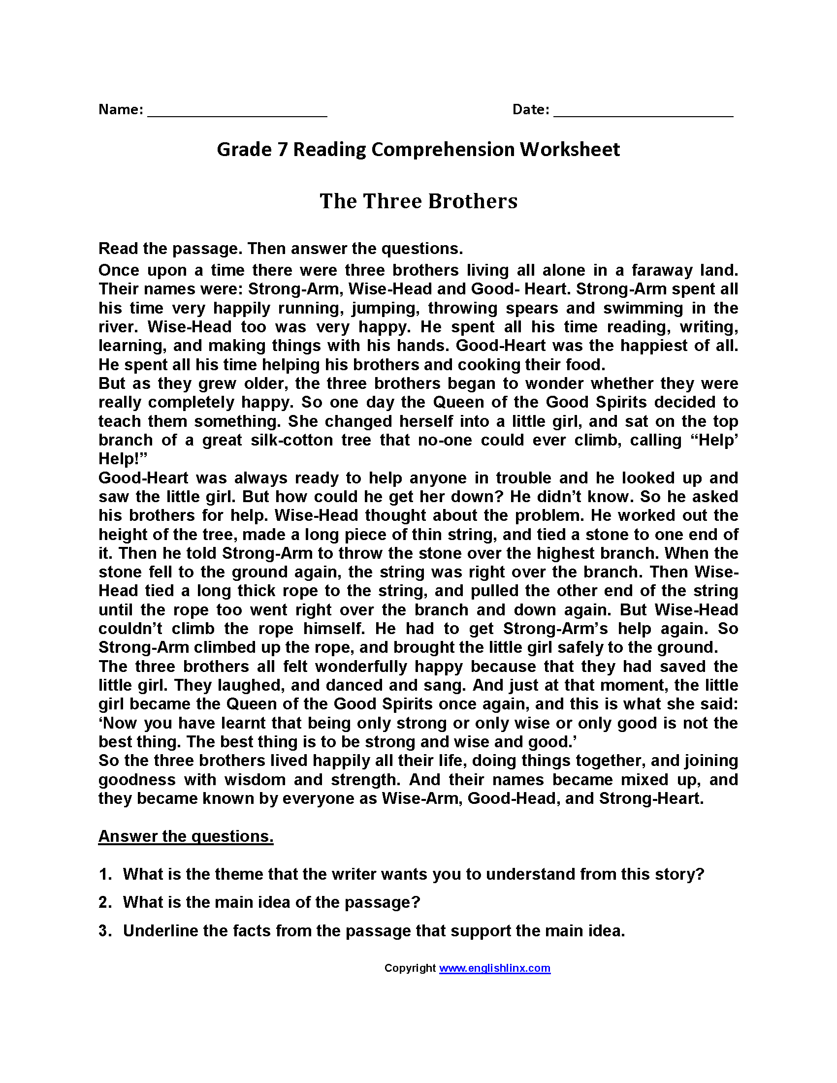 Printable 7th Grade Grade 7 Reading Comprehension Worksheets Pdf