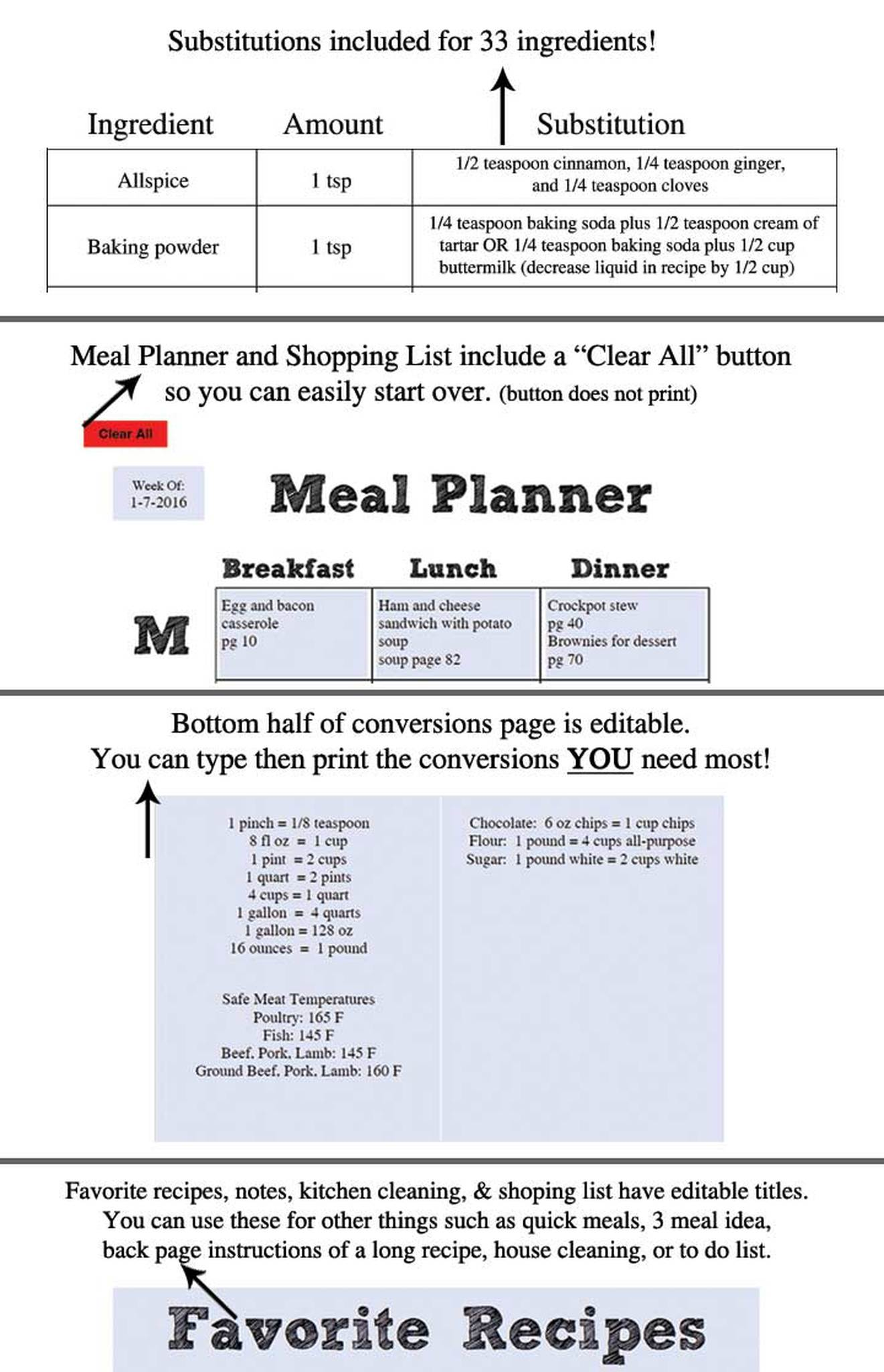 Printable Recipe Template Pdf