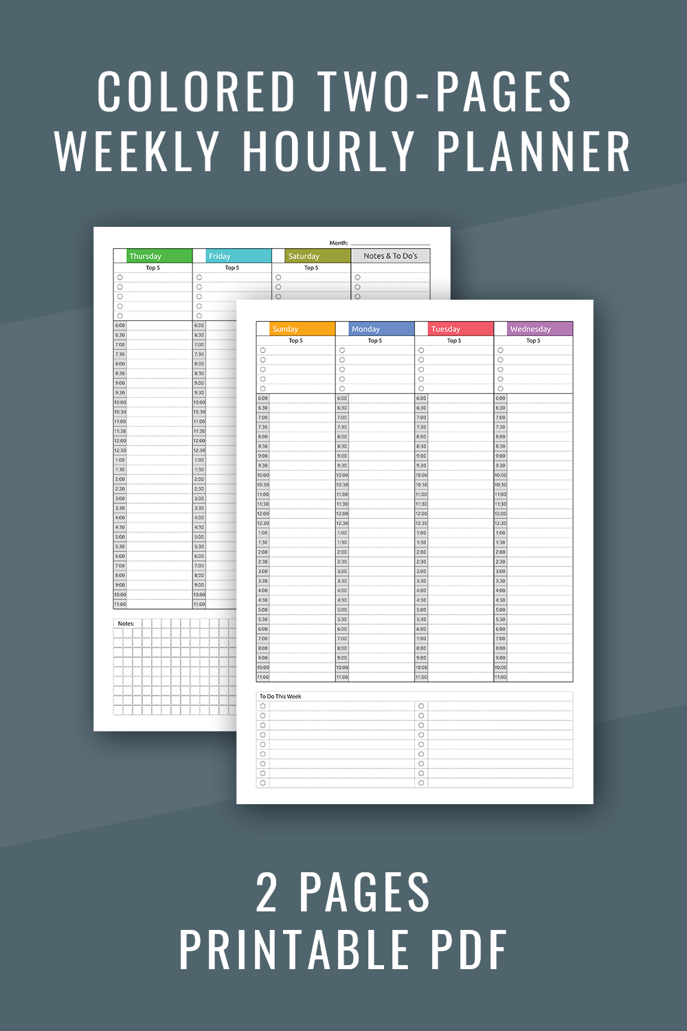Printable Weekly Hourly Planner Pdf