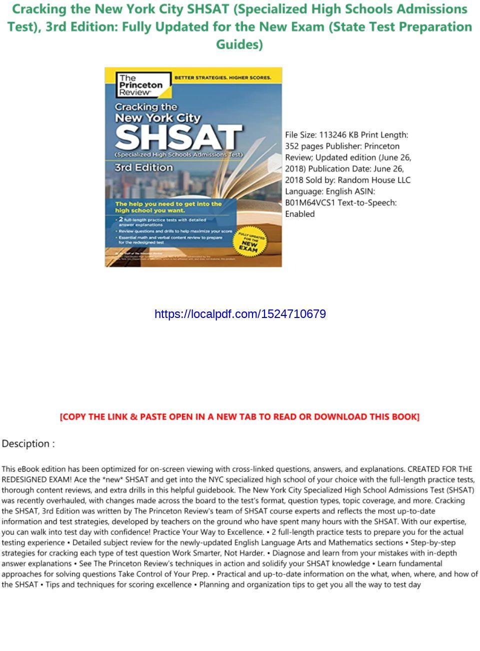 Shsat Practice Test Pdf 2018