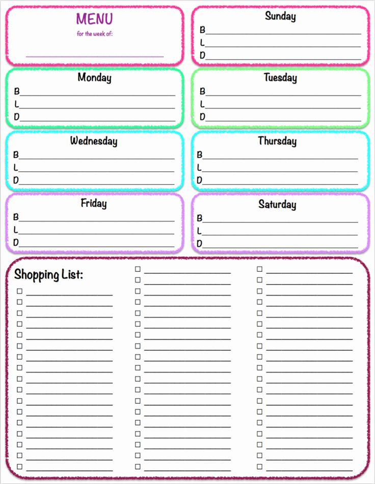 Weekly Meal Plan Template Pdf Free