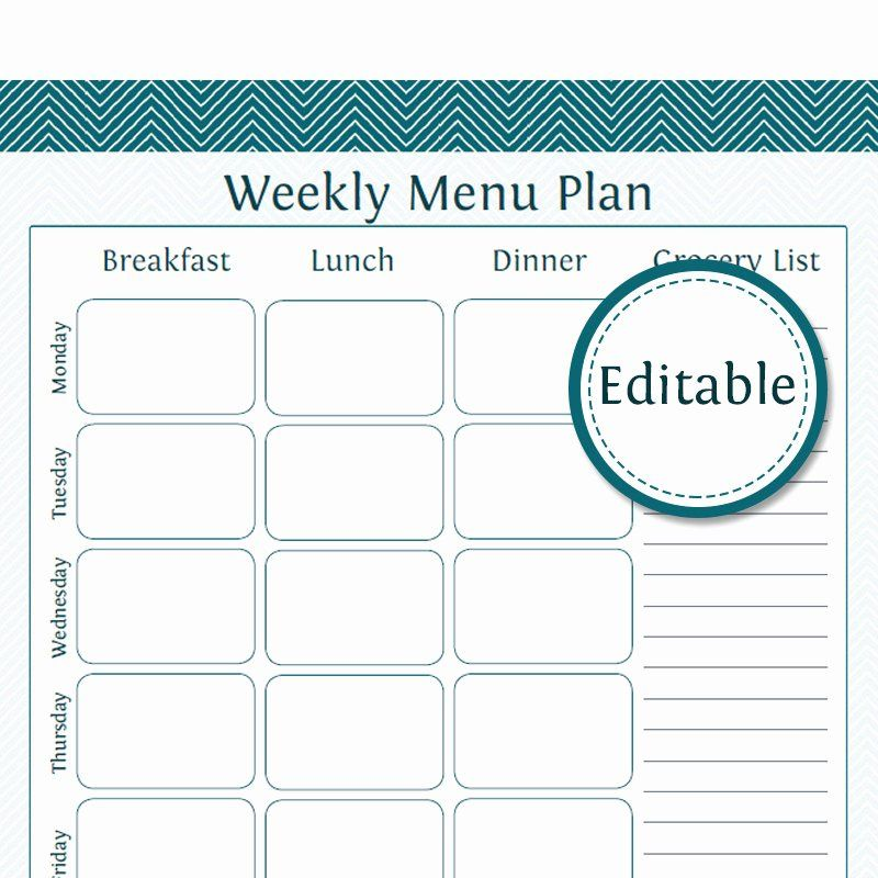 Weekly Meal Plan Template Pdf