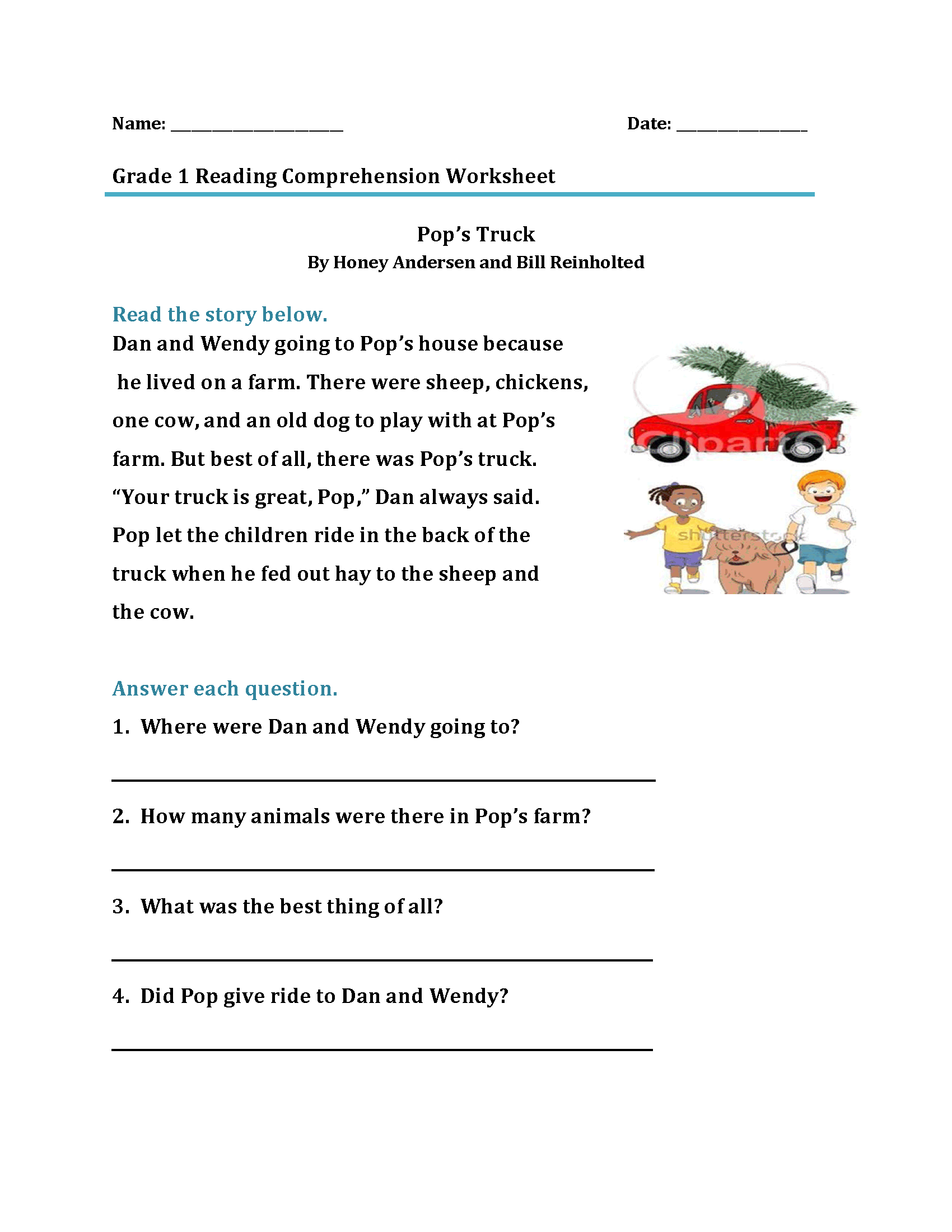 1st Grade Daily Reading Comprehension Grade 1 Pdf
