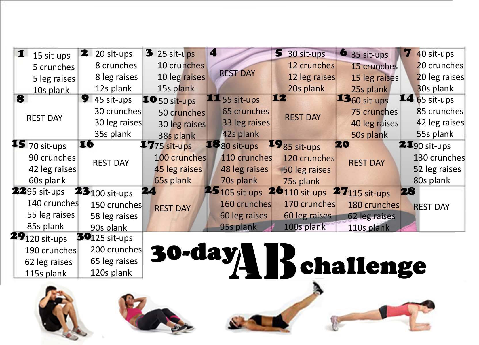 30 Day Ab Challenge For Beginners Pdf