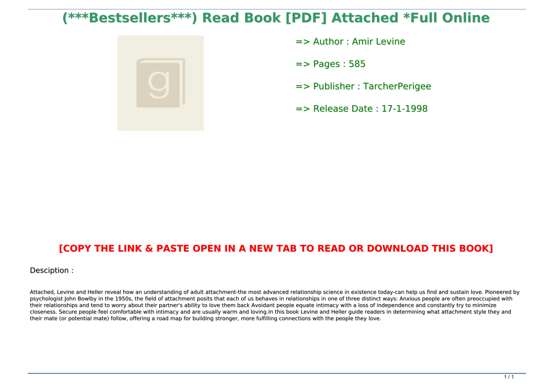 Attached Book Pdf Online