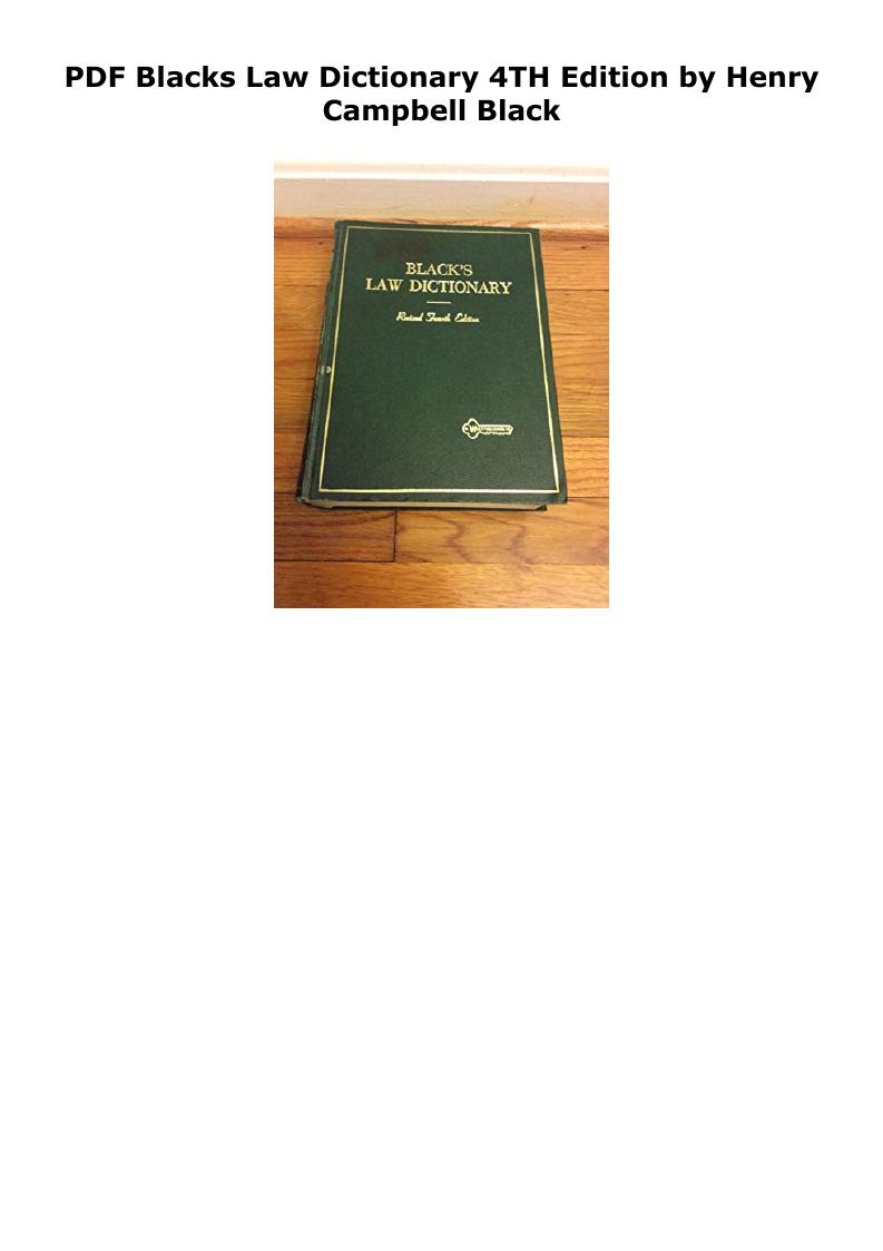Blacks Law Dictionary 4th Edition Pdf