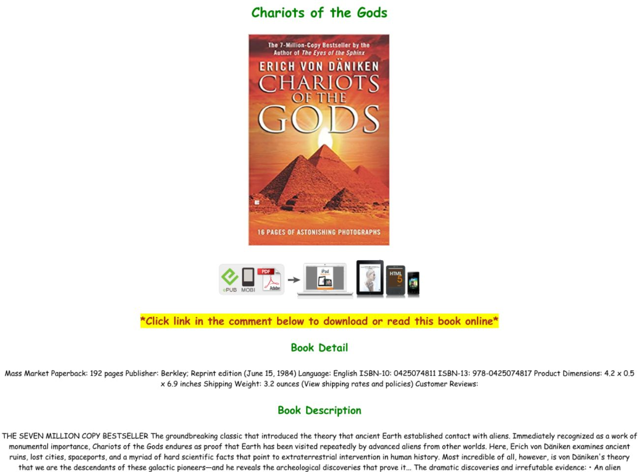 Chariots Of The Gods Pdf Download