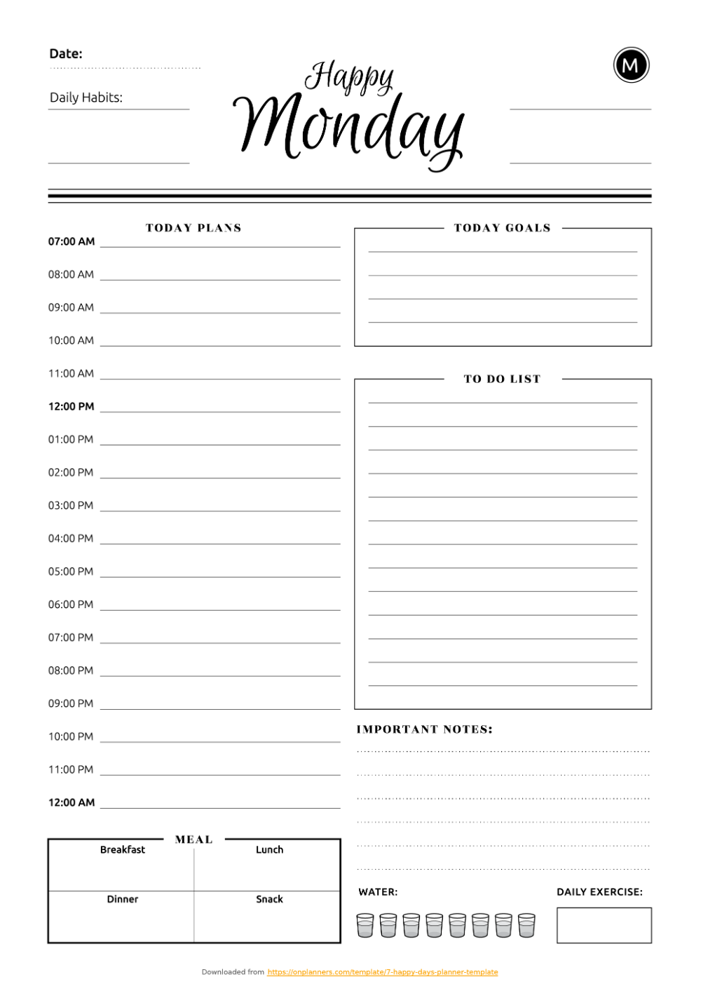 Cute Daily Schedule Template Pdf