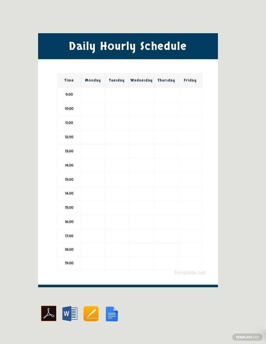 Daily Schedule Template Pdf Free Download