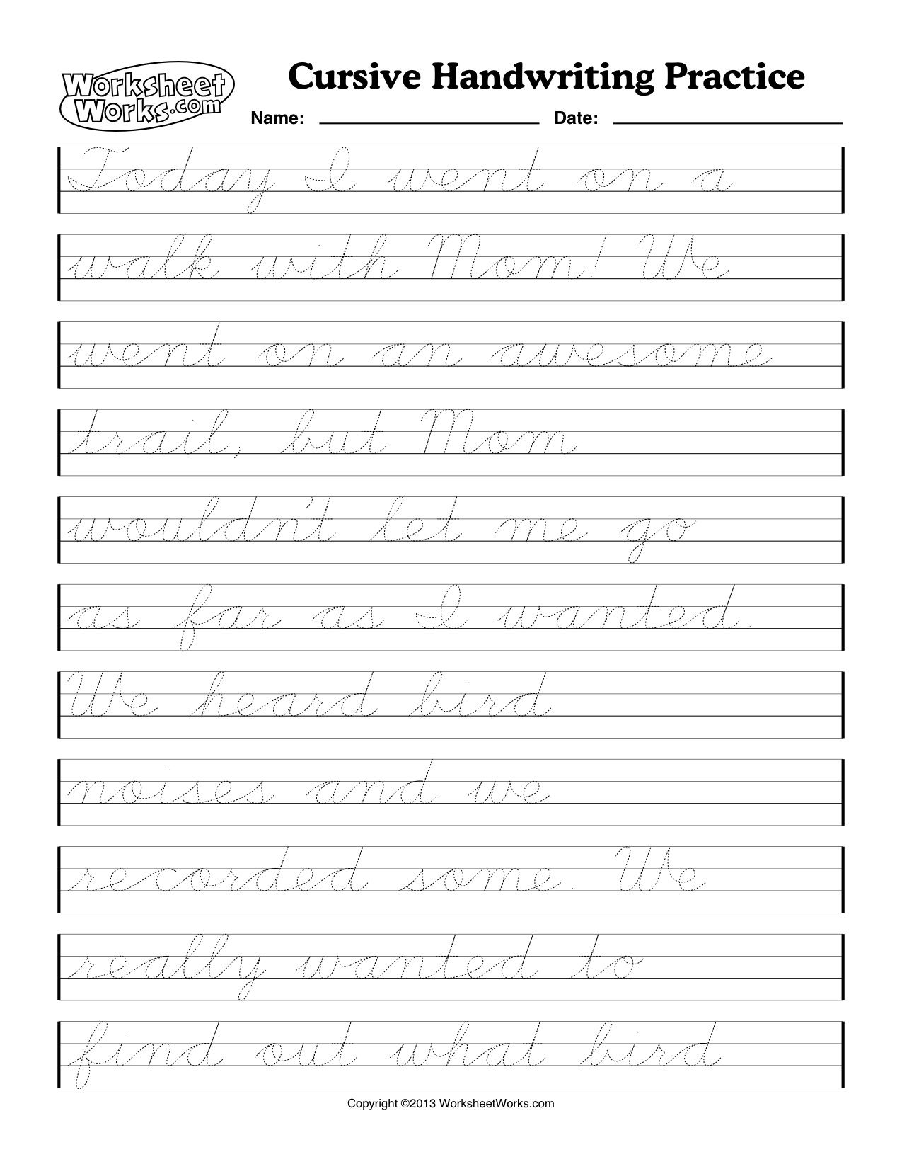 Dotted Cursive Writing Pdf