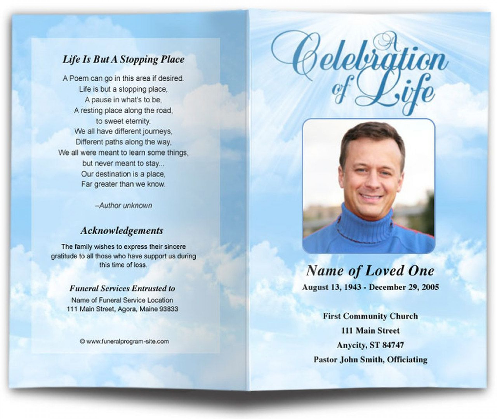 Downloadable Free Editable Funeral Program Template Pdf