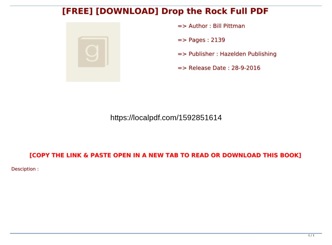 Drop The Rock Pdf Free