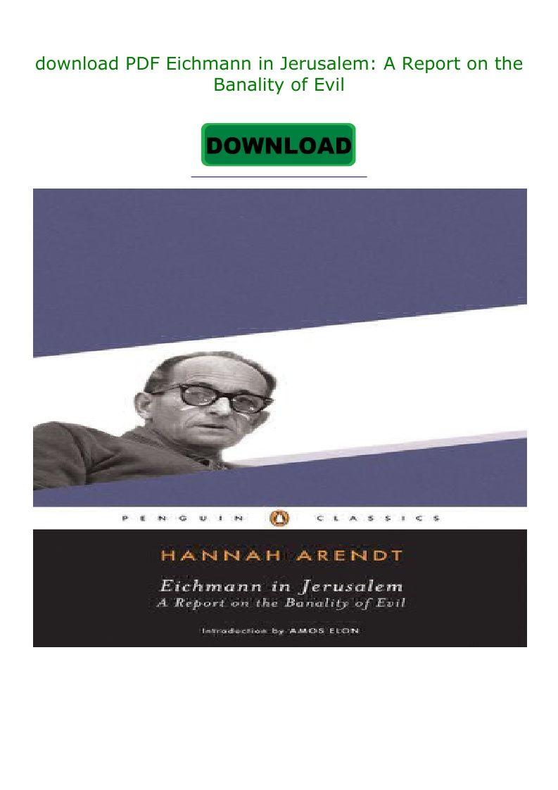 Eichmann In Jerusalem Pdf