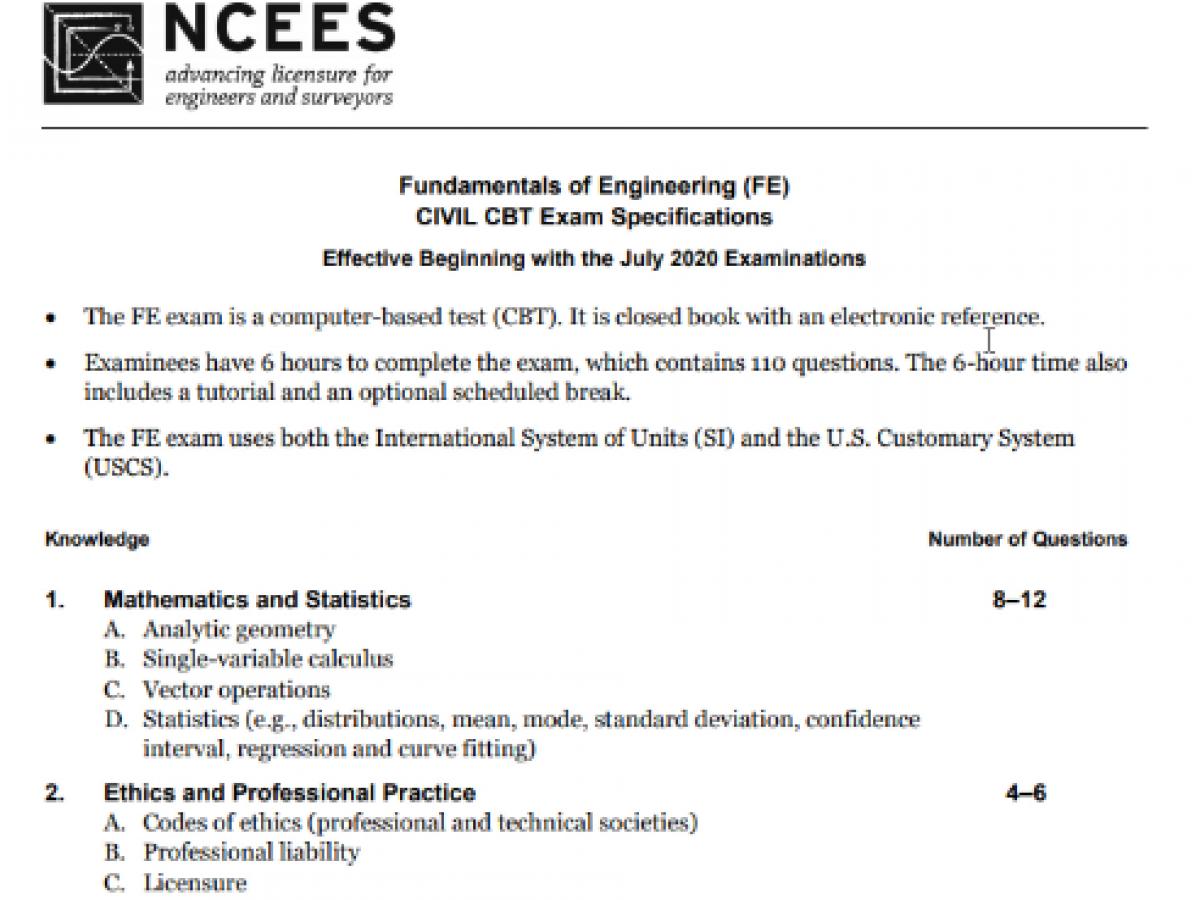 Fe Practice Exam Pdf 2020