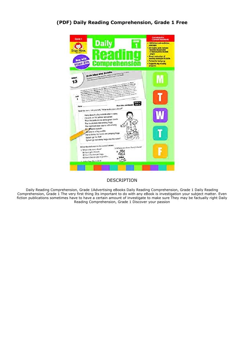 Free Reading Daily Reading Comprehension Grade 1 Pdf