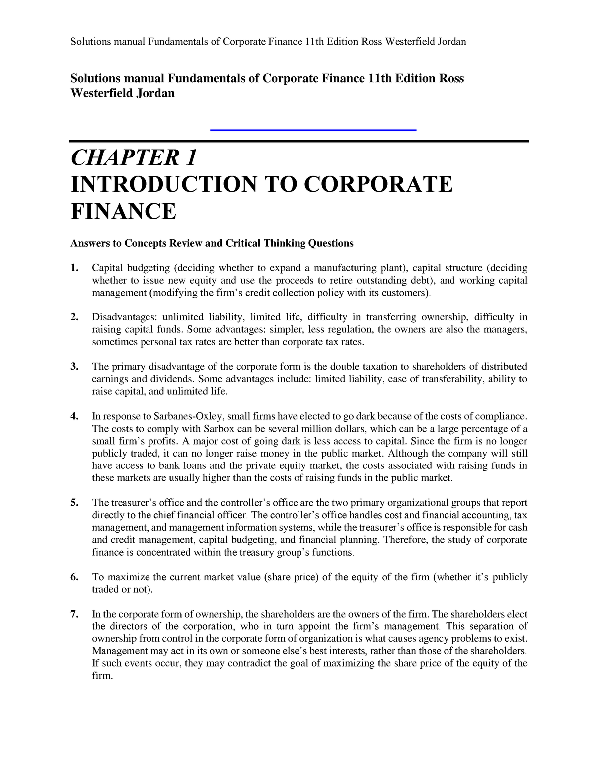 Fundamentals Of Corporate Finance 11th Edition Pdf Download
